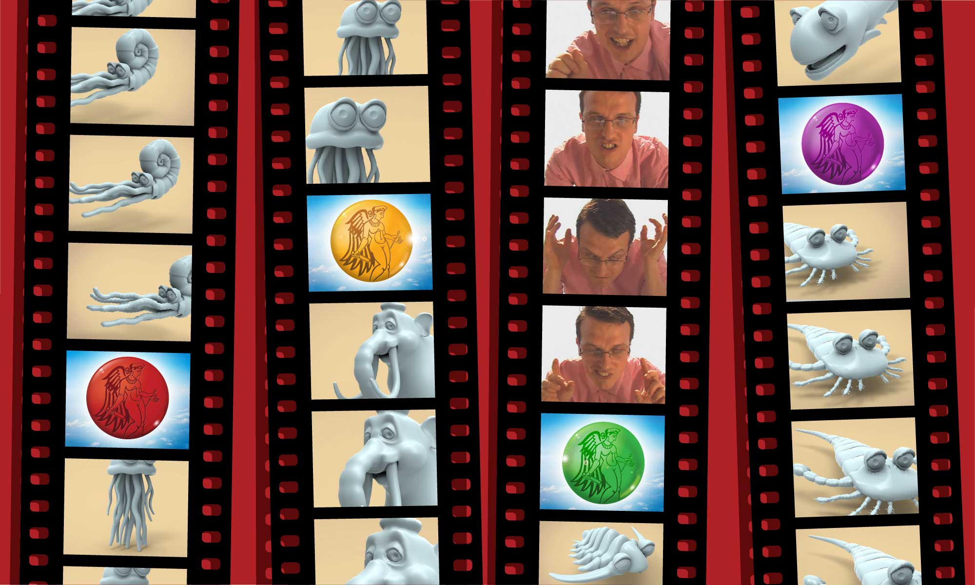 Fotogrammi tratti da 'Alteregay' e 'La freccia del tempo', audiovisivi prodotti da Fargo Entertainment