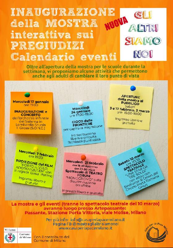 Calendario eventi della 'Mostra interattiva sui pregiudizi'