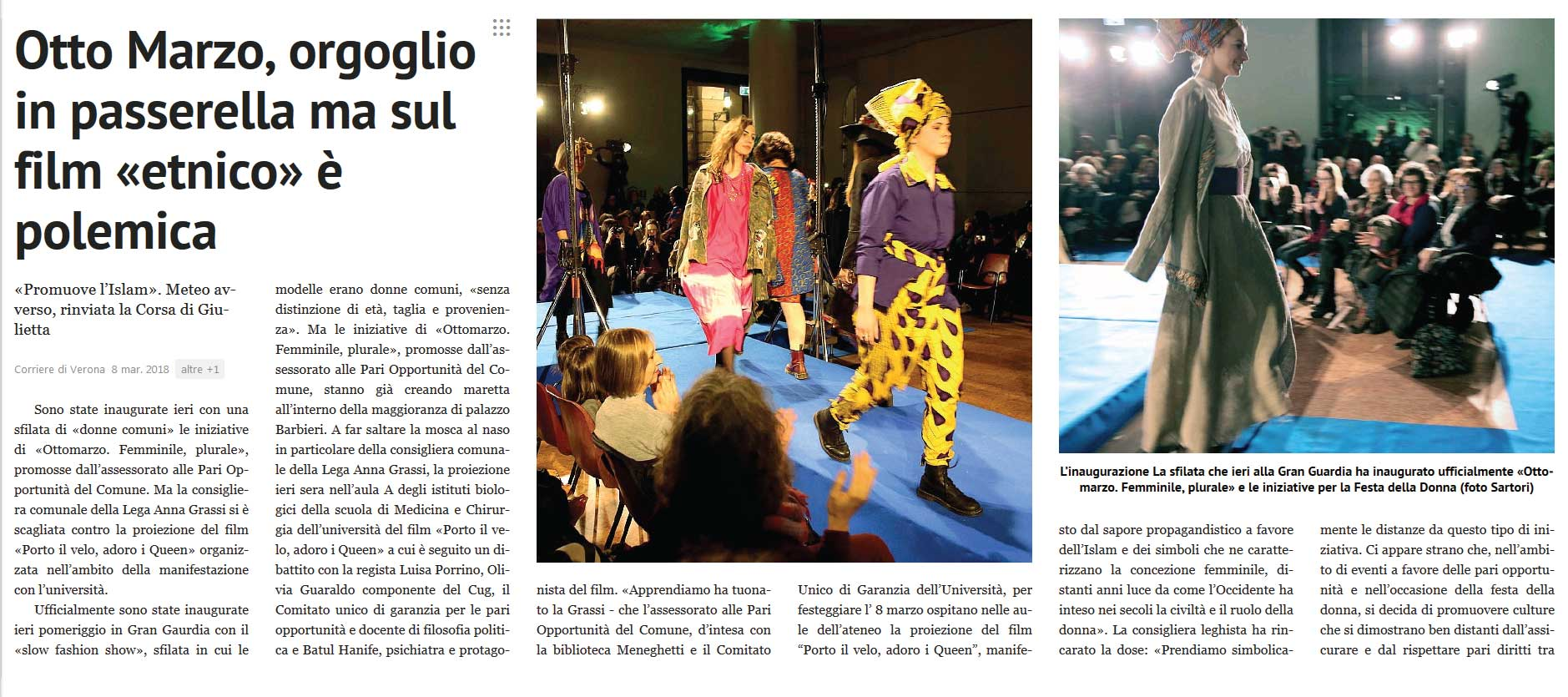 Corriere di Verona, 8 marzo 2018